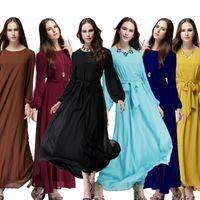 Wholesale Muslim Kaftan Abaya Dress Turkish Dresses Women s Chiffon Musulmane Moslim Clothing Fashion Ethnic Clothes for Lady Female