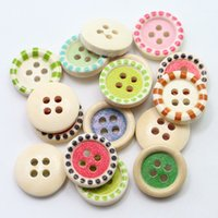 Wholesale DHL Multi color DIY Wooden Buttons Mixed Wooden Buttons in Bulk Buttons for Paintings Bedding Tablemate Pastoral Wooden Buttons