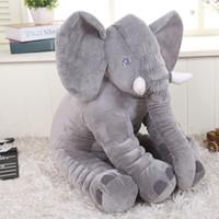 al por mayor juguetes del bebé para el asiento de coche-28 * 33cm elefante felpa bebé suave reposicionador almohadilla bebé muñecas bebé juguetes sueño cama coche asiento almohada almohadas niños ropa de cama