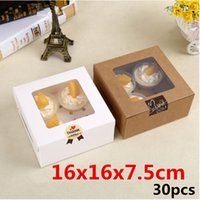 Wholesale 16x16x7 cm High quality clear plastic window kraft paper boxes Four holes packaging cupcake Muffin egg tart gaine
