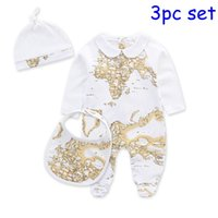 4size:Newborn(0-3M)/3- 6m/6-9m/9-12m baby bib size - 2016 Newborn Organic Cotton Baby world map Romper Set Climbing Clothes Global Print Bib Jumpsuit Hat Overal Suit Baby pc set