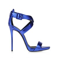 ballroom dancing online - 2016 New Blue Strap Ballroom Dance Shoes Round Toes High Heels Sandals For Women Wedding Bridal Shoes Large Size Shoes Online