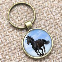 12pcs Llavero del caballo, animal grande que aspecto hermoso con el keyring negro de la piel Llavero de la joyería equina de la foto del vidrio de impresión