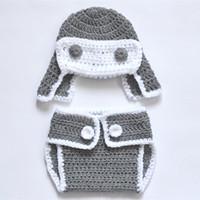 aviator hat costume - Newborn Character Costume Handmade Knit Crochet Baby Boy Girl Gray Aviator Hat and Diaper Cover Set Infant Photography Props