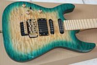 Precio de Guitarra de la mano izquierda verde-Pastillas zurdos Jack Hijo PC1 Phil Collen Qulit arce cloro poner crema verde de la guitarra eléctrica de Floyd Rose Tremolo activas batería de 9V Caja posterior