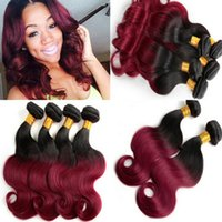 Wholesale Ombre Brazilian Hair burgundy brazilian ombre virgin hair weave grade A virgin brazilian hair body wave red