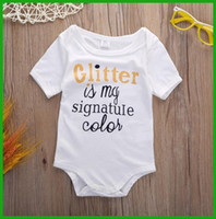 Cheap newborn infant white short t-shirt baby boys girls romper children clothing jumpsuits pretty boys bodysuit solid outfit signatuIe printted