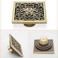 Wholesale Antique Brass Carved Flower Art Bathroom Accessory Floor Drain Waste Grate100mm mm