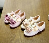 Wholesale 2016 Autumn Children Girls Big Flowers Pearl Party Shoes Pink Beige Leather Shoes Princess Kids Rose Dress Shoes B4153