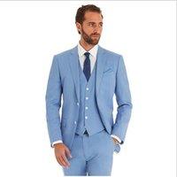 best lounge pants - New Arrivel Romantic Light blue Lounge Best man suit Wedding Tuxedo men suit latest coat designs costume Jacket Pants Vest