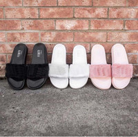 hotel slippers - Drop Shipping Famous Leadcat Fur Slides Pink Black White Slide Sandal Womens Sandals Size