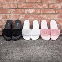 Wholesale Drop Shipping Famous Rihanna Fenty Leadcat Fur Slides Pink Black White Slide Sandal Womens Sandals Size