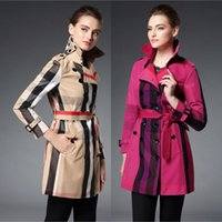 best outerwear brands - Check Grid Long Trench Coat For Women British Top Fashion Designer Brand Outerwear Business Office Lady Clothes Best Sales BC1124
