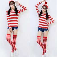 adult halloween shirts - New Where s Wally Waldo Cartoon Cosplay Costume Red White Stripes Adult Women T shirt Glasses Hat Socks for Halloween