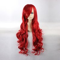 Wholesale Women s Long Wavy Christmas Red Heat Resistant Synthetic Hair Lolita Fashion Wig LOW04 Wave Wigs for Sale