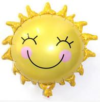 aluminium flowers - The New Sun Flower Foil Balloons Smiley Sunshine Sun Aluminum Balloon Birthday Wedding Decoration HJIA651