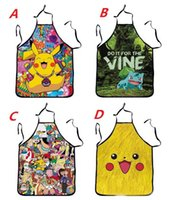 Wholesale Poke Pikachu Kitchen Aprons Anime Pocket Monster Apron Pikachu Sleeveless Cooking Apron Party Apron Gifts cm