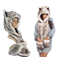 Wholesale Christmas Day Gifts Hot Sale Fake Fur Wolf Spirit Hoods Animal Head Hooded
