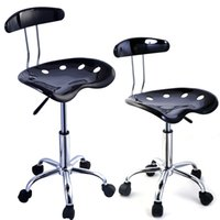 bar stools chrome - 2PC Adjustable Bar Stools Tractor Seat Swivel Chrome Kitchen Breakfast Black