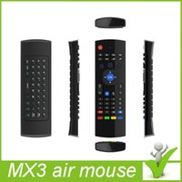 Wholesale 2015 original Gyroscope Sensing GHz Double keyboard MX3 Wireless Air Mouse With IR Remote Control for PC Smart TV IPTV Android TV Box