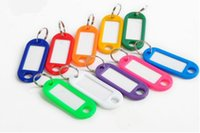 Wholesale 100 Random Color Key ID Label Tags Split Ring Keyring Plastic Keychain Blanks Key For Baggage Paper Insert Luggage Tags