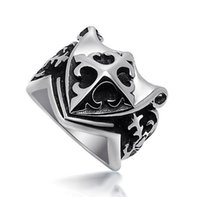 asian face shield - 2016 Cross Scout Flower pattern Shield Men s Rings fashion jewelry titanium steel ring M SA351