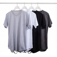 Wholesale Men Extended Distressed T Shirts Hipster FOR Women Elonagted Oversized Swag Hip Hop Streetwear Shirts Asian Size