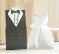 Wholesale 50pairs White and Black Bride and Groom Bridegroom Candy Box Paper Wedding Favors Candy Boxes for Wedding decoration