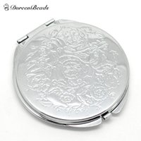 Wholesale Silver Tone Carved Make Up Compact Mirror x6 cm quot x2 quot sold per packet of
