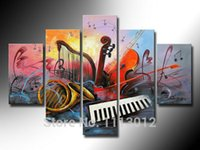 Wholesale Hot Horn Violin Music Oil Painting High Quality Abstract Sets On Canvas Home Decoration Modern Picture For Living Room