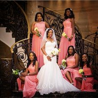africa weddings - One Shoulder Lace A line Bridesmaid Dresses Long Africa Weddings Chiffon Sleeveless Floor Length Zipper Maid of Honor Party Dress Gowns