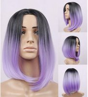 beyonce wigs - kanekalon synthetic lace front wig ombre bob wig artificial hair beyonce wig black purple no lace front wigs