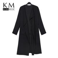 Wholesale Kissmilk Women Plus Size XL XL XL XL Big Large Size Tie Waist Solid Office Lady Elegant Slim Long Coat