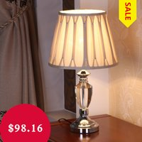 Wholesale Modern Crystal Table Lamp Fabric Lampshade Lampe Deco E27 AC V LED Light Lustre Lamparas De Mesa Tafellamp Luminaire Sale