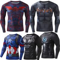 america print - 2016New Sport Wear Fitness Compression Shirt Men Superman Captain America Batman Spiderman Iron Man Sport tshirt Gym Clothing