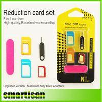 aluminum sim card tray - 5 in1 Aluminum Metal Nano SIM Card to Micro SIM standard Adapter For iPhone s se Plus S6 Edge Converter Eject Pin