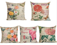 Wholesale 8 Styles Vintage Printing Pillow Cover w Rose Pattern x45cm Cotton Linen Pillow case Throw Pillow Cushion Case Home Decor h