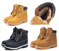 Wholesale Autumn winter Couples yellow boots Men Women Genuine Leather Warm Snow Boots Outdoor Leisure Martin Boots hiking shoes