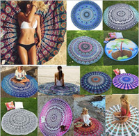 Wholesale 20 Style cm Round Beach Towel Bohemian Style Chiffon Fabric Round Carpets Printed Serviette Covers for Summer