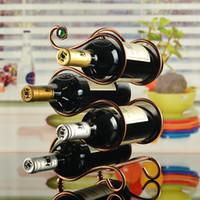 bar table tops - Fashionable Top Grade Wrought Iron White Brozen Scrollwork Shape Wine Bottles Holder Stand Beer Rack Bar Home Table Decor