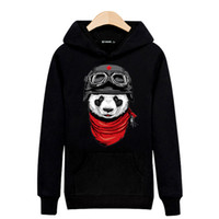 Wholesale Long Sleeve Cotton Hooded Sweatshirts Men Autumn and Winter Japanese Skateboard Streetwear Fashion Panda Print Hip hop Fleece Hooded Sweater
