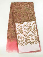 africa lace material - Hot selling wedding dress lace materials multicolor Africa net lace fabric with sequins French organza lace fabrics