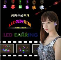 Wholesale 2016 Top Fashion Five pointed Star Type Led Stud Earrings Static Dynamic Flash Light Fluctuates Discus Spangle Act The Role Ofing Is Tasted