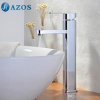 Wholesale AZOS Bathroom Basin Tap Brass Chrome Polish Color Single Hole Deck Mount Hot Cold Mixer Toilet Sink Faucet Furniture Replacements MPDKZ001B