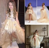 Wholesale High Collar Girl Party Pageant Dress Hi Lo floor length Flowers Girls Dresses Little Girls Pageant Dresses For Teens