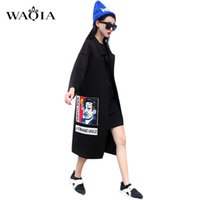 Wholesale 2016 New Spring Fashion Casual Women s Trench Coat Long Outerwear Cute Cartoon Loose Clothes Single Breasted Vestidos Plus Size