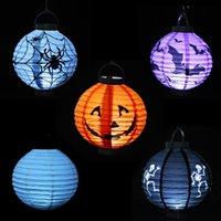 battery paper lantern - DHL FREE LED Halloween Pumpkin Lights Lamp Paper Lantern Spiders Bats Skull Pattern Decoration LED Battery Bulbs for Kids