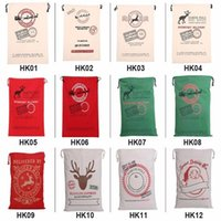 Wholesale 2016 Christmas Large Canvas Monogrammable Santa Claus Drawstring Bag With Reindeers Monogramable Christmas Gifts Sack Bags