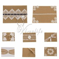 Wholesale 10 styles cm x cm Vintage Burlap Natural Lace Guest Book for Wedding Bridal Birthday Party Reception Wedding Accessories