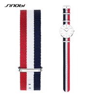 Wholesale SINOBI MM Watchband Men Women Colorful Sport Nylon Strap Watch Bands Bracelets Lady Sliver Buckles For casual canvas Watch Strap
